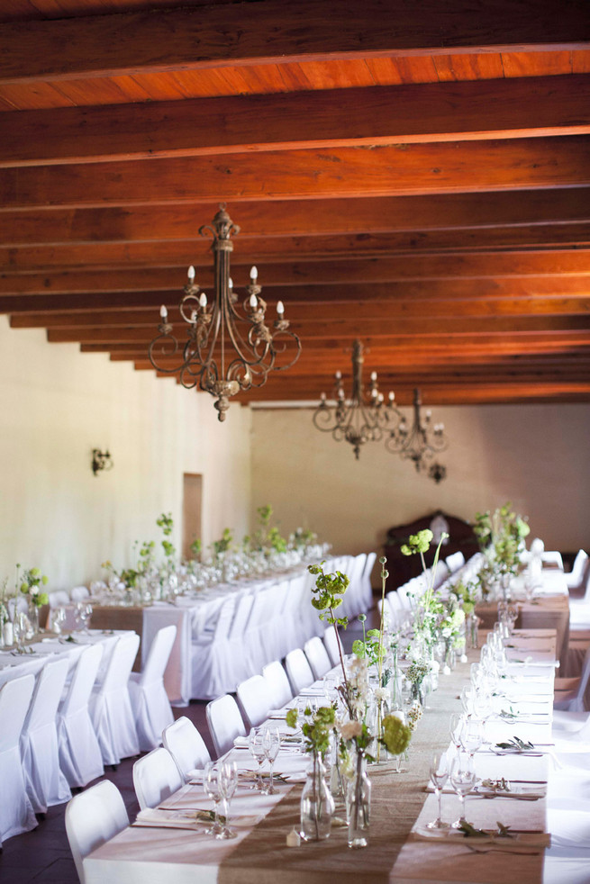Tablescape. Green White Rustic South African Wedding // Justin Davis Photography