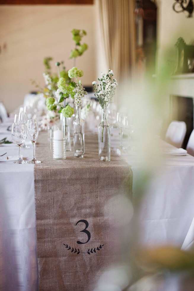 Burlap table runner with table number. Great DIY idea! Green White Rustic South African Wedding // Justin Davis Photography