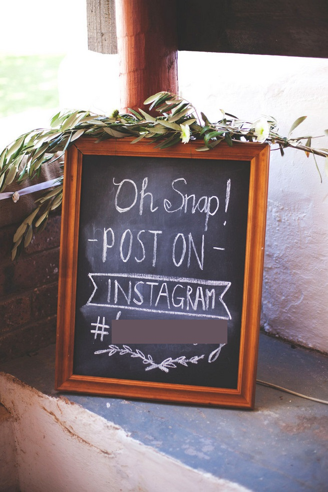 Oh Snap Instagram Wedding Sign. DIY Chalkboard. Green White Rustic South African Wedding // Justin Davis Photography