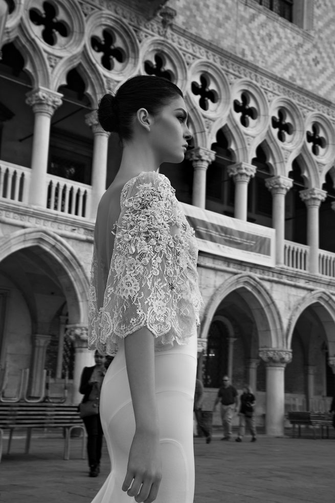Detailed lace three quarter sleeves: Inbal Dror Wedding Dresses 2015
