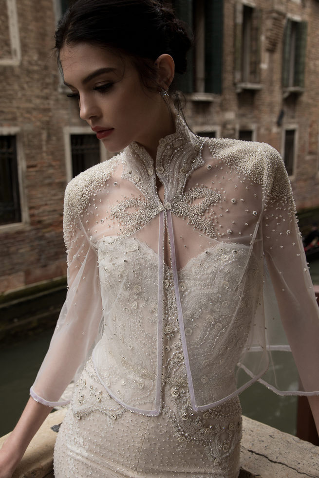 Sheer Lace Cover Up with embroidered beads: Inbal Dror Wedding Dresses 2015