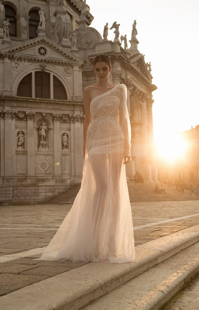Assymetrical, long sleeved, sheer short Inbal Dror Wedding Dresses 2015