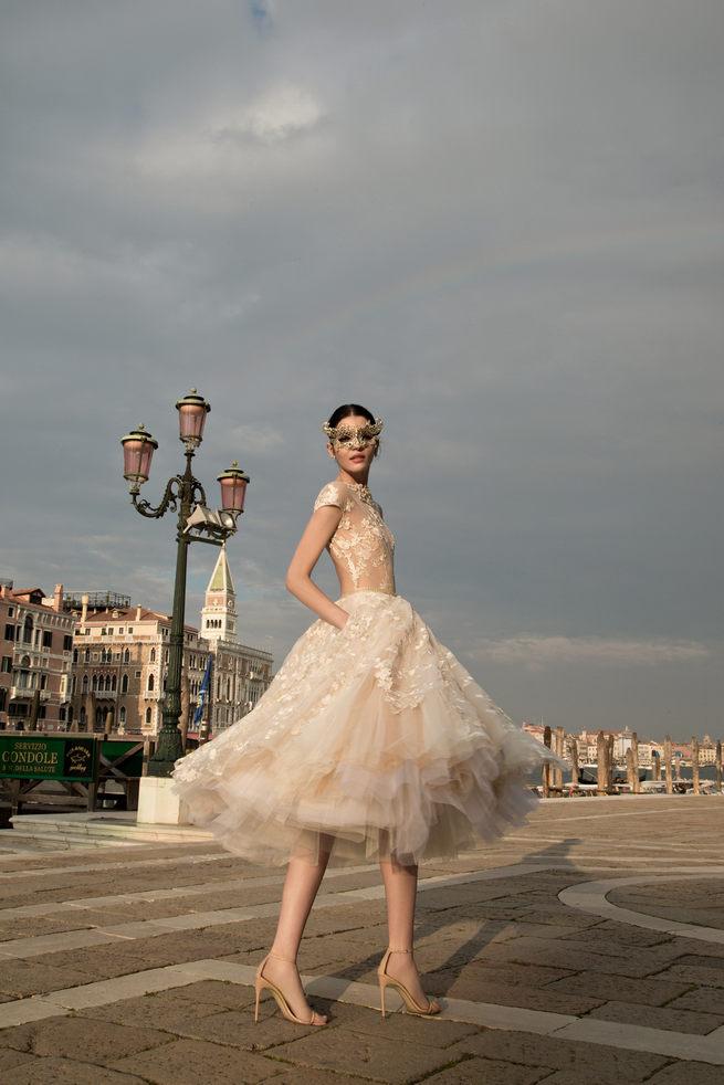 Gorgeous short tulle backless Inbal Dror Wedding Dresses 2015