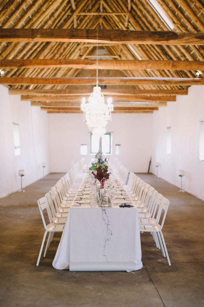 Farm style long reception tables. Gorgeous Navy Gold Wedding at Babylonstoren / Charlene Schreuder Photography