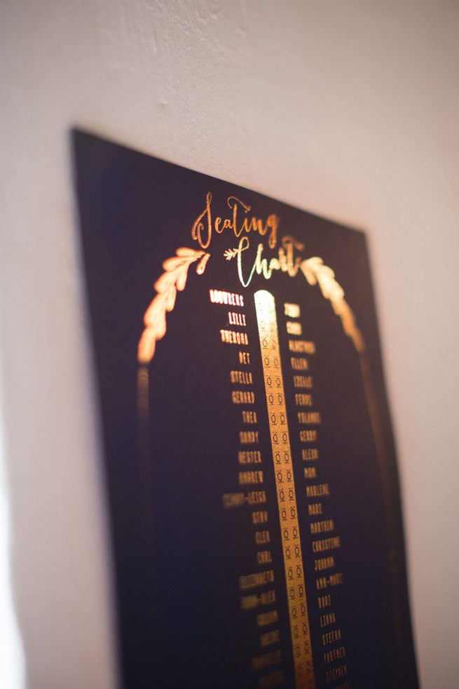 Navy blue seating chart with gold embossed laurels and detailing. Gorgeous Navy Gold Wedding at Babylonstoren / Charlene Schreuder Photography