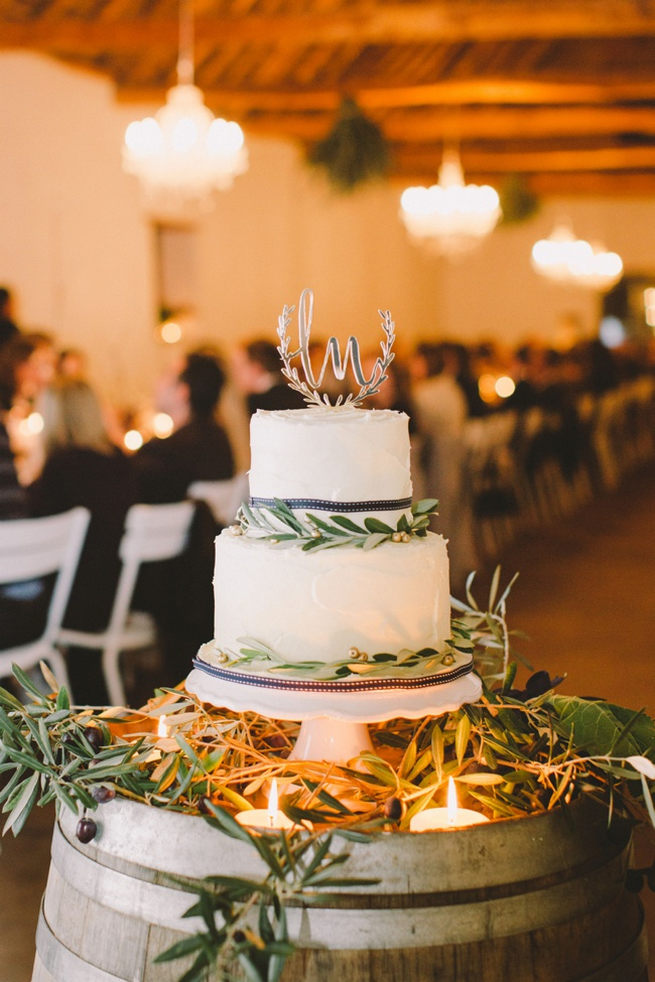 Organic style wedding cake with navy ribbon and herbs. Gorgeous Navy Gold Wedding at Babylonstoren / Charlene Schreuder Photography