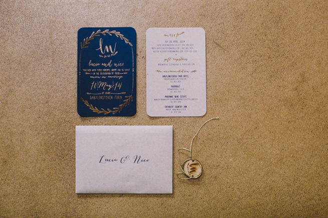 Gold and Navy Wedding Invitation with gold laurel details / Navy Gold Wedding Babylonstoren / Charlene Schreuder Photography