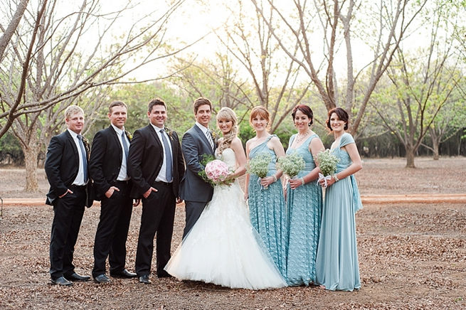 Bridal party shot. Blush Pink and Powder Blue Spring Wedding // D'amor Photography