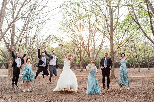 FUN wedding party photo idea with bride and groom. Blush Pink and Powder Blue Spring Wedding // D'amor Photography