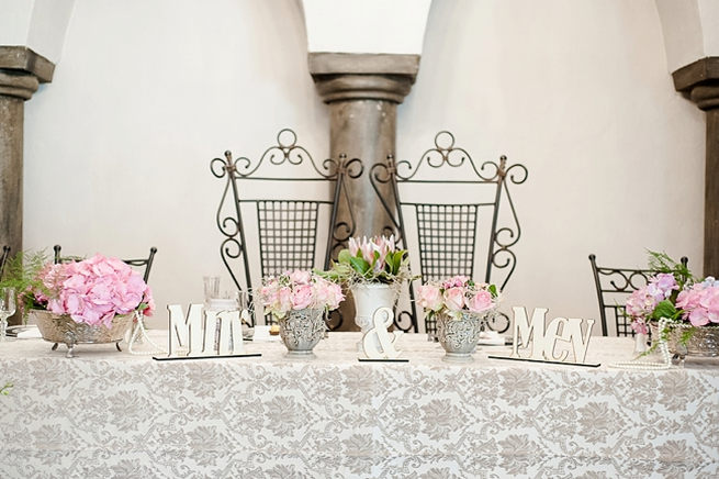 Lazer cut Mr and Mrs Signs. Blush Pink and Powder Blue Spring Wedding // D'amor Photography