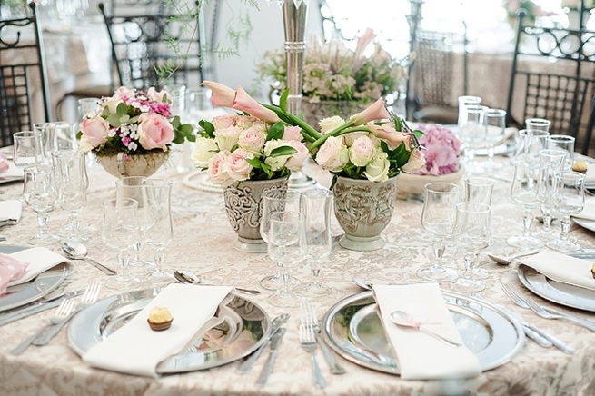 Blush And Pink Wedding Flowers In Silver Urns Vases On Reception Tables Hydrangea