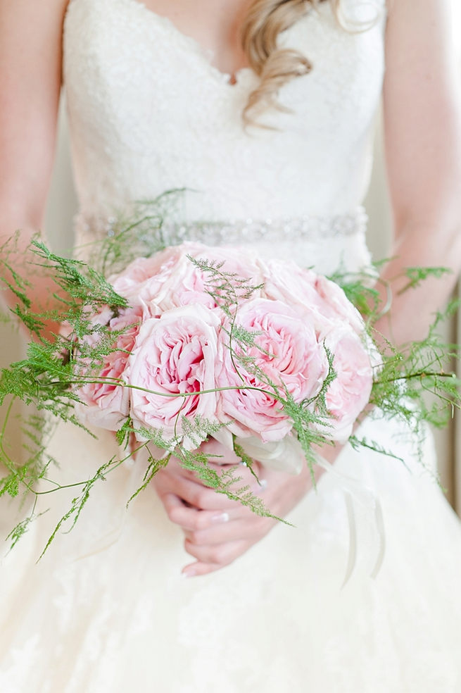Stunning soft pink peony bridal bouquet with soft green ferns // D'amor Photography