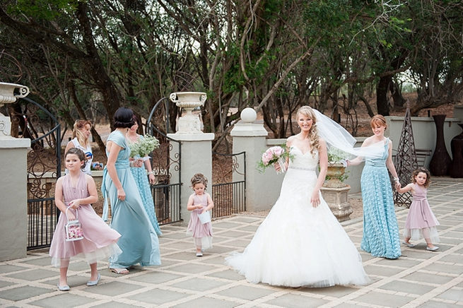 Arriving at the church! Blush Pink and Powder Blue Spring Wedding // D'amor Photography