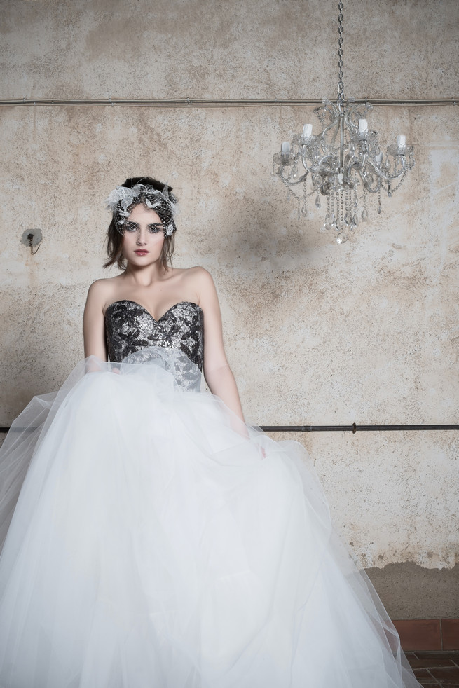 Black and white tulle Ramon Herrerías Wedding Dresses