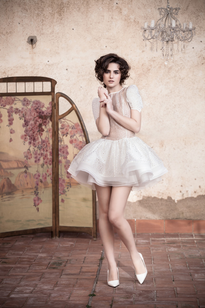 Short Ramon Herrerías Wedding Dresses  with flared skirt and short sleeves