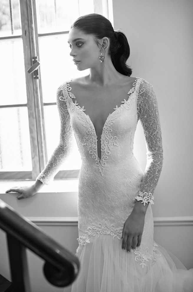 Long, lace sleeved Riki Dalal 2015 Wedding Dress with deep V plunging neckline
