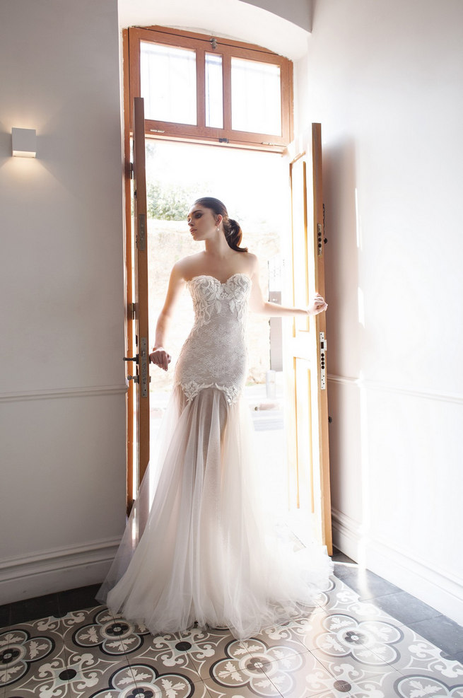 Riki Dalal 2015 Wedding Dresses with sheer skirt and sweetheart neckline.