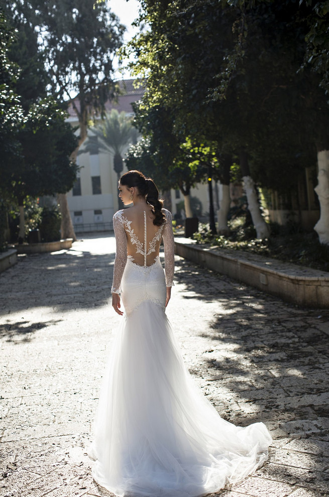 Long, lace sleeved Riki Dalal 2015 Wedding Dress with deep V plunging neckline and illusion back with lace tattoo