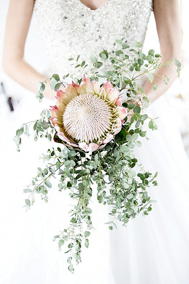 Blush pink King Protea Bouquet with rustic greens