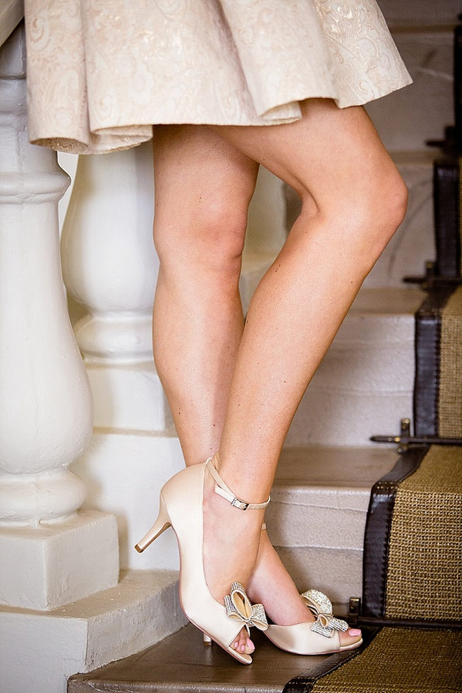 Gold champagne bridal shoes by Anella Wedding Shoes. Soft Pink and Gold Wedding by Samanatha Jackson Photo