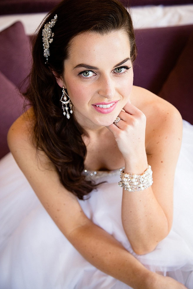 Pretty bridal bracelet and stunning earrings. Soft Pink and Gold Wedding by Samanatha Jackson Photo