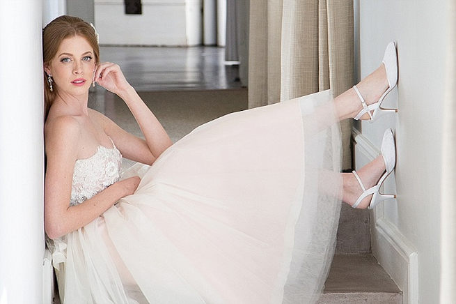 Strapless embroidered short wedding dress and pretty shoes. Soft Pink and Gold Wedding by Samanatha Jackson Photo