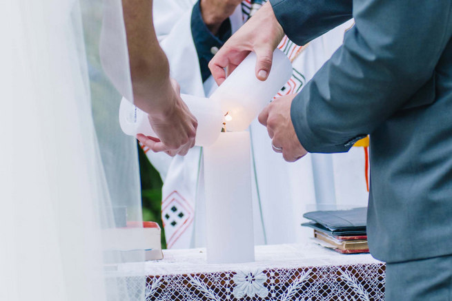 Unity candle ceremony // Succulent Garden Wedding // Claire Thomson Photography