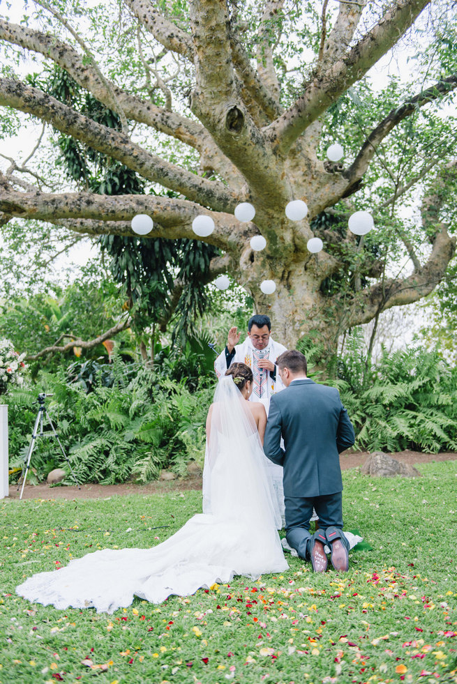Wedding ceremony under a gorgeous old tree with white chinese lanterns // Succulent Garden Wedding // Claire Thomson Photography