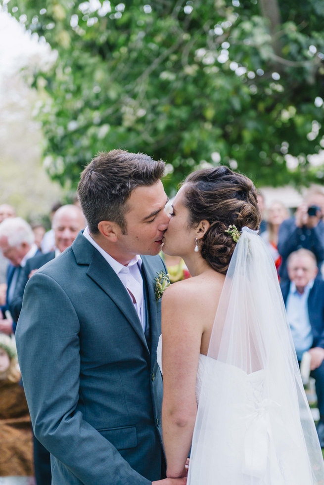First Kiss // Succulent Garden Wedding // Claire Thomson Photography