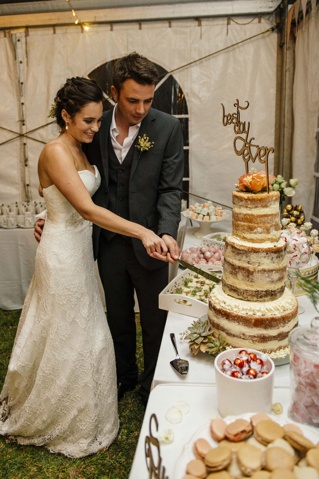 Best Day Ever wood lazer cut cake topper on naked cake // Succulent Garden Wedding // Claire Thomson Photography