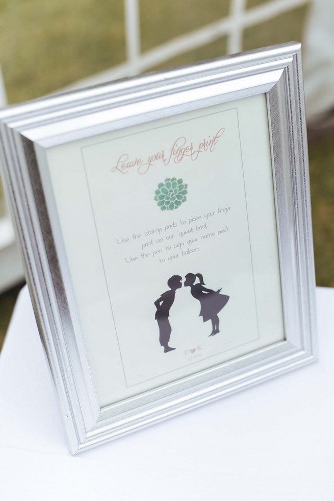 Thumb print guest book instructions sign // Succulent Garden Wedding // Claire Thomson Photography