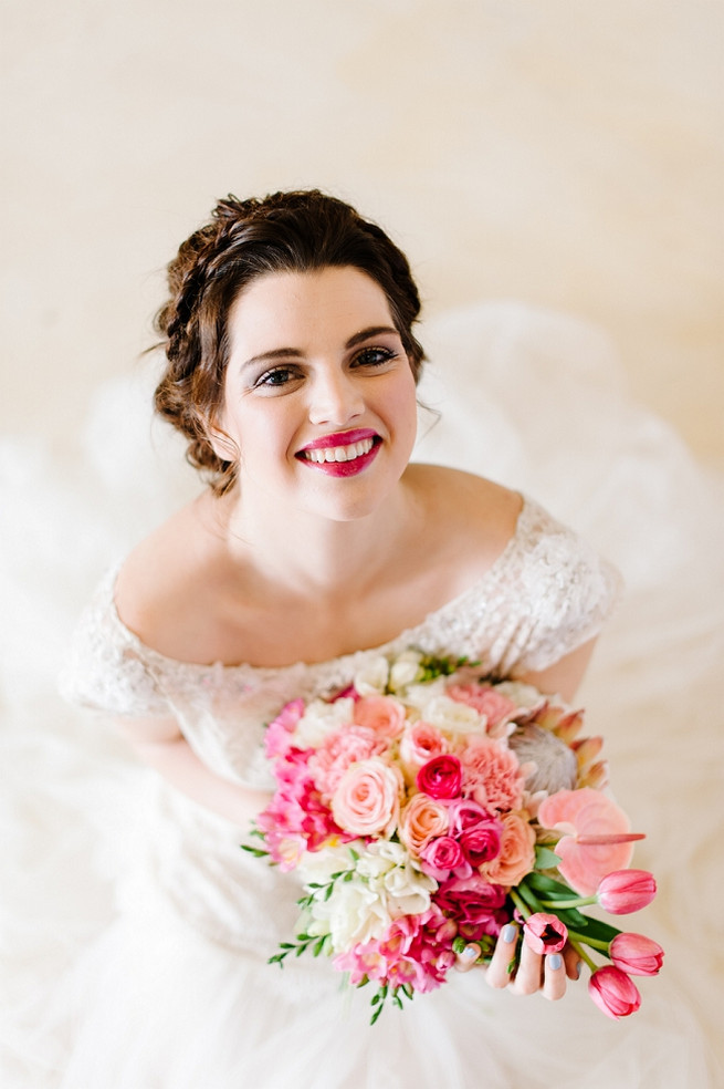 Alana van Heerden Wedding Dress. Bouquet of pink and blush roses, pink tulips, King Protea, lily.// Pics Debbie Lourens // Make-up and Hair: Fringe Hair and Make-up // Flowers Paramithi Flowers and Decor