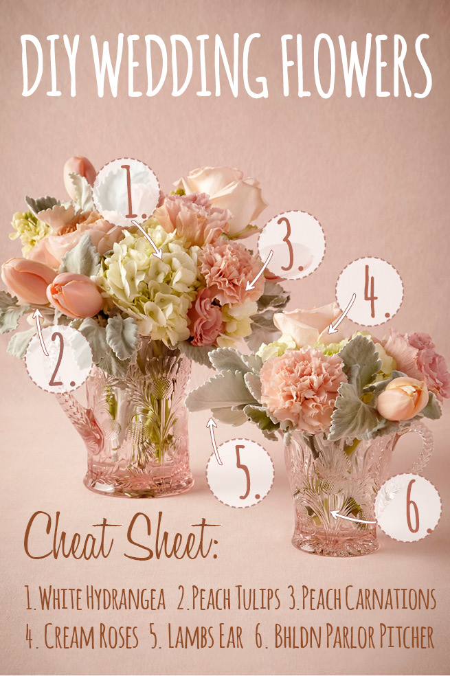 Peach white diy wedding flower centerpiece inspired by bhldn diy wedding flower recipe 1 mightylinksfo Images