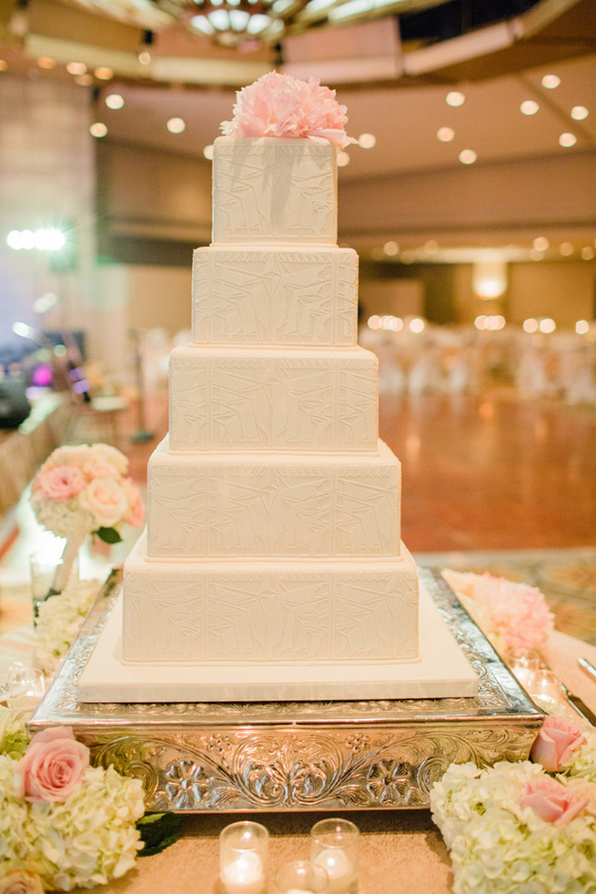 Classic, chic, white wedding cake.  Glamorous Gatsby Inspired Wedding by Elyse Hall Photography
