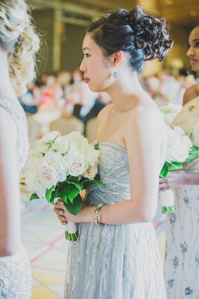 Stunning art deco style silver grey bridesmaid dress. Glamorous Gatsby Inspired Wedding by Elyse Hall Photography