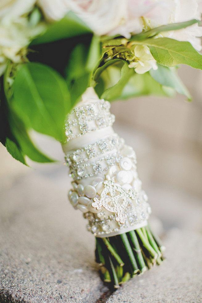 Gorgeous white and silver sparkly bouquet wrap.