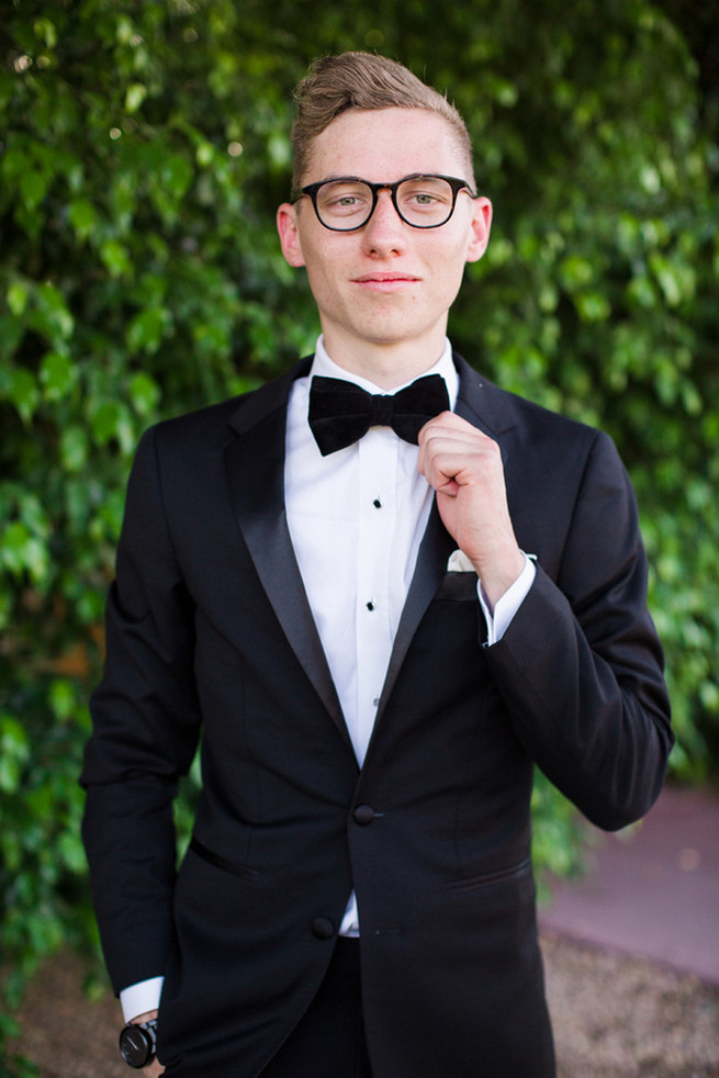 Charming tux and black bowtie. Glamorous Gatsby Inspired Wedding by Elyse Hall Photography
