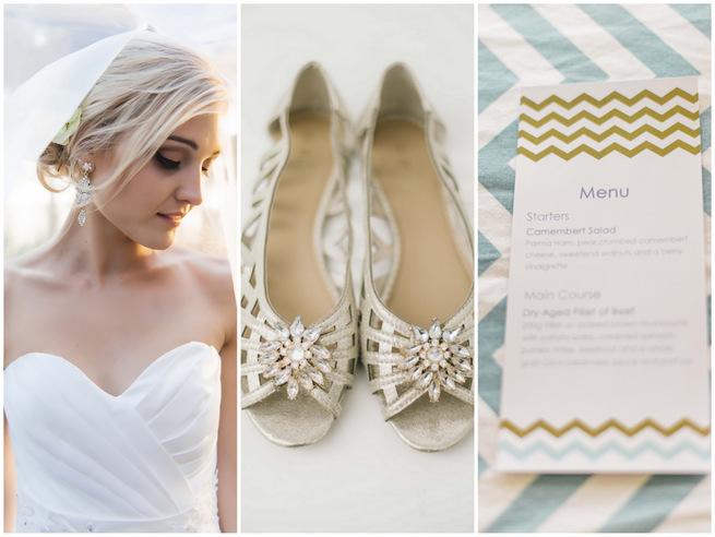 White Gold Chevron Wedding  190