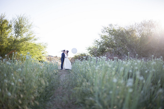 Couple wedding photographs in a field of onion flowers // Organic Farm Style Karoo Wedding // christine Le Roux Photography