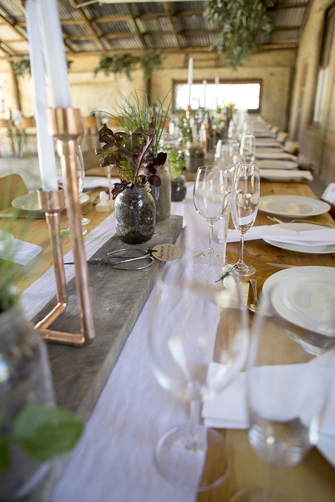 Gold candle holders and herb planters // // Organic Farm Style Karoo Wedding // christine Le Roux Photography
