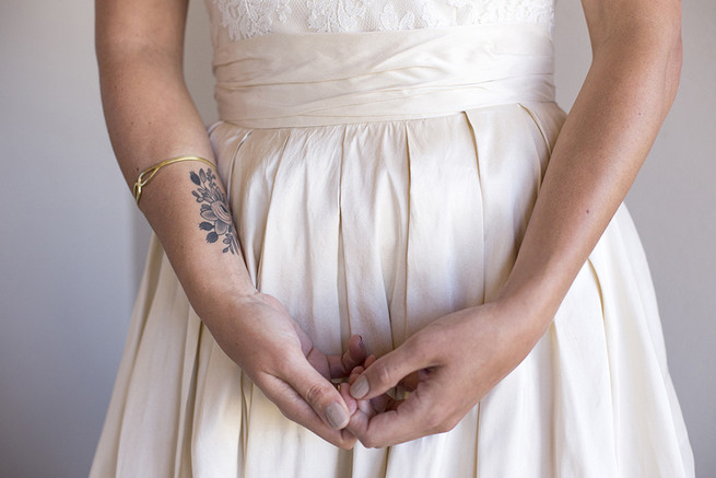 Bride with wrist tattoo //  Organic Farm Style Karoo Wedding // christine Le Roux Photography