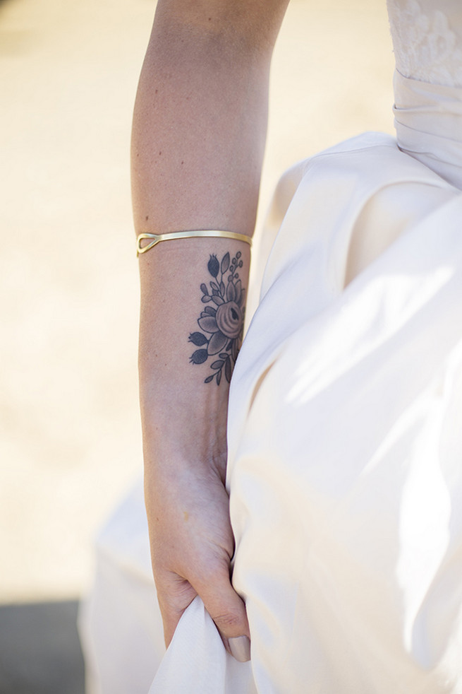 Brides tattoo with gold bracelet // Organic Farm Style Karoo Wedding // christine Le Roux Photography
