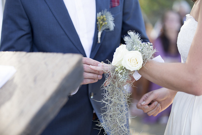 Brides fynbos flower corsage // Organic Farm Style Karoo Wedding // christine Le Roux Photography