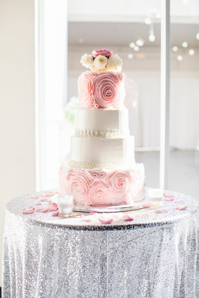 Peach pink and cream ruffle wedding cake with cream and pink roses // Modern Romance: Pink and Silver Wedding // Jessica Q Photography