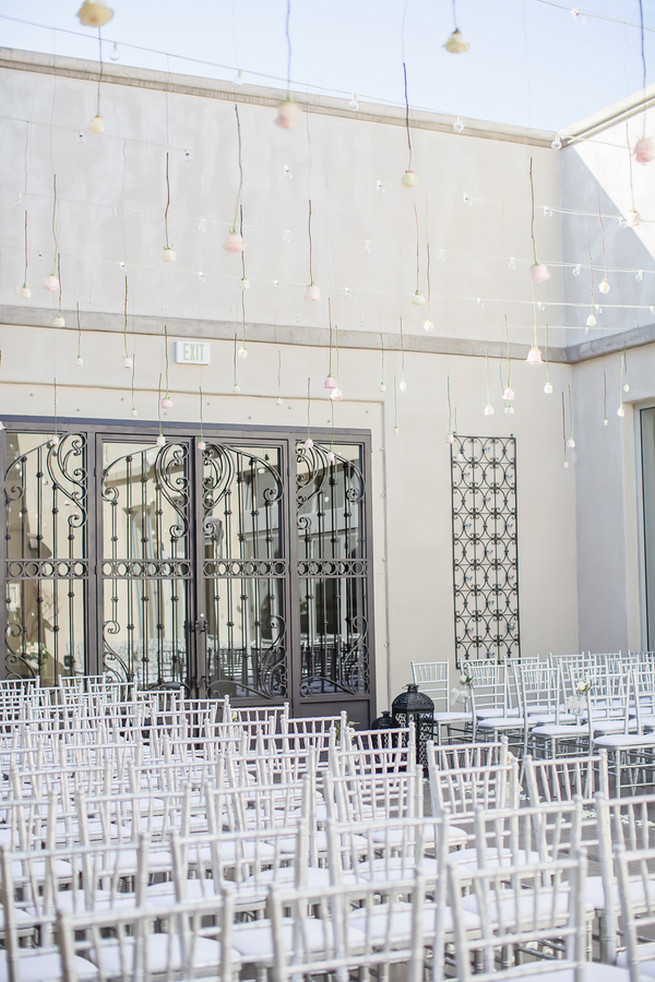 Hanging ceremony wedding decor // Modern Romance: Pink and Silver Wedding // Jessica Q Photography