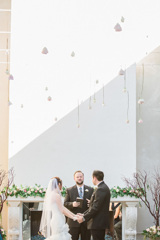Wedding ceremony with hanging decor // Modern Romance: Pink and Silver Wedding // Jessica Q Photography