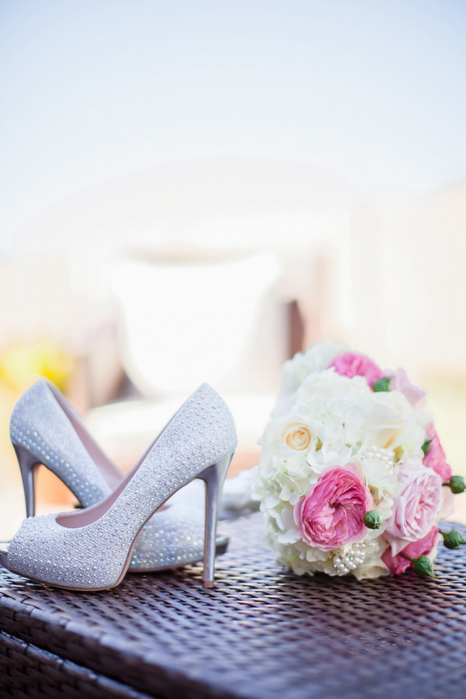 Silver sequin wedding heels // Modern Romance: Pink and Silver Wedding // Jessica Q Photography