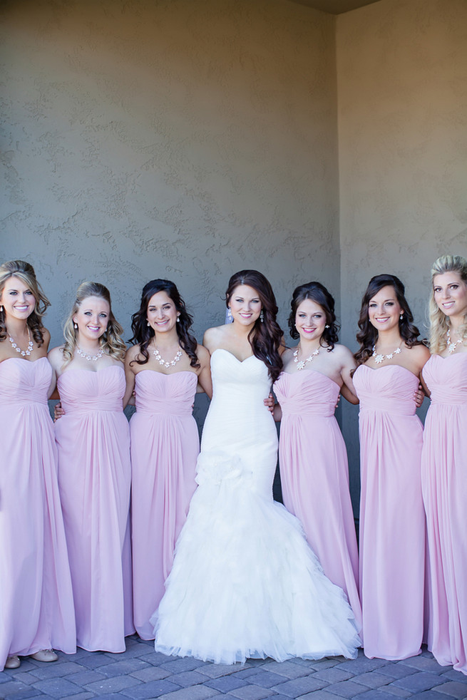 Bridesmaids wearing long blush strapless gowns // Modern Romance: Pink and Silver Wedding // Jessica Q Photography