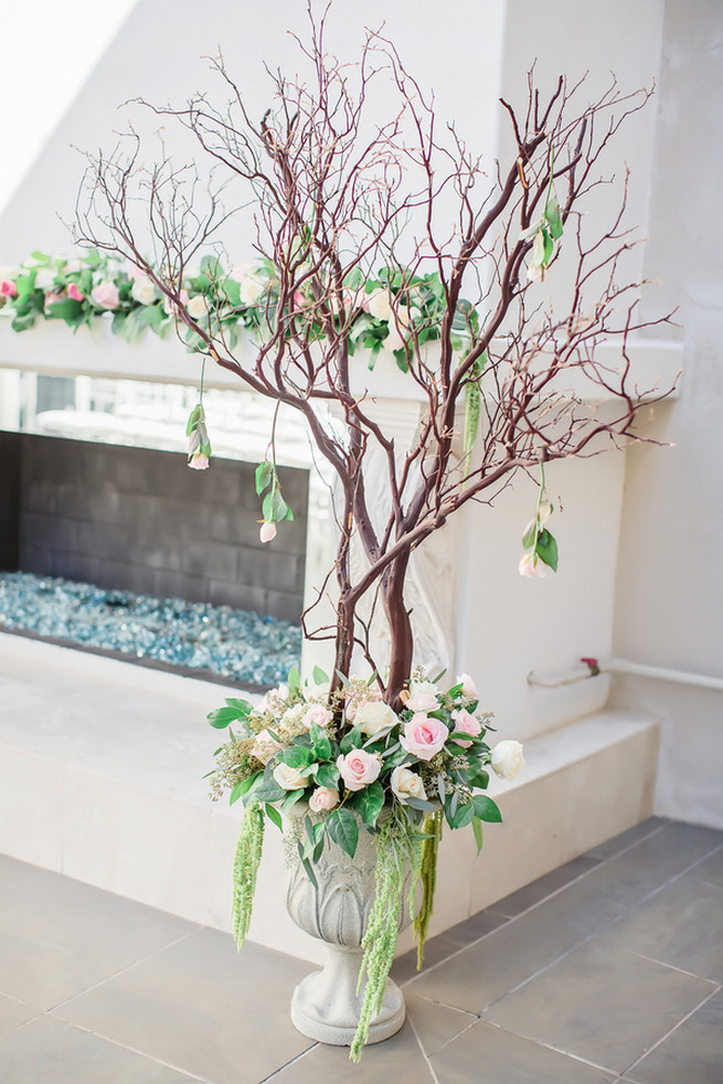 Manzanita Tree and Pink and cream wedding ceremony roses // Modern Romance: Pink and Silver Wedding // Jessica Q Photography