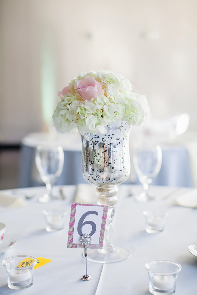 Silver mercury glass vase with white hydrangea and pink roses
